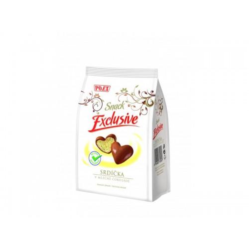 EXCUSIVE srdíčka v mléčné čokoládě, 90 g